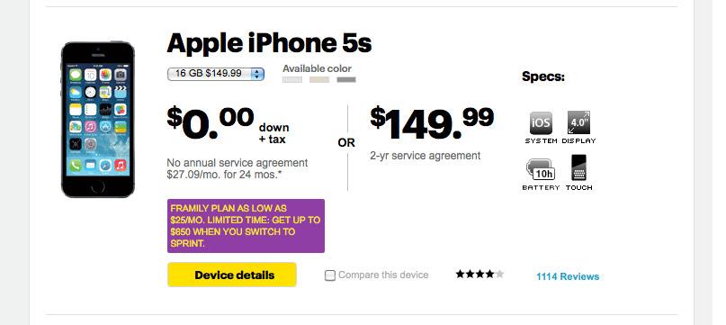 Sprint iPhone5s, iPhone5c