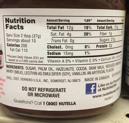 アメリカのスーパーで買えるお土産ランキング!写真はアメリカでも人気の「ヌテラ」のカロリー表示