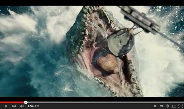ジュラシック・ワールドのモササウルスの餌付け
