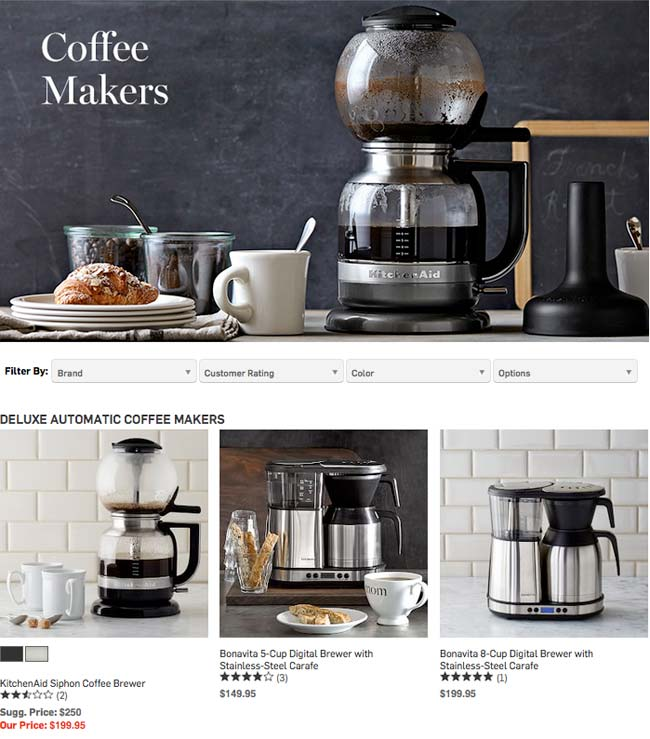 Williams-Sonoma のオシャレなコーヒーメーカー一覧