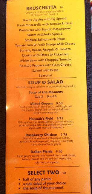アリゾナの美味しいレストラン Postino メニュー