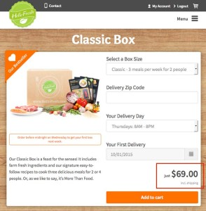 HelloFresh meal price for 2 people