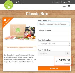 HelloFresh meal price for 4 people