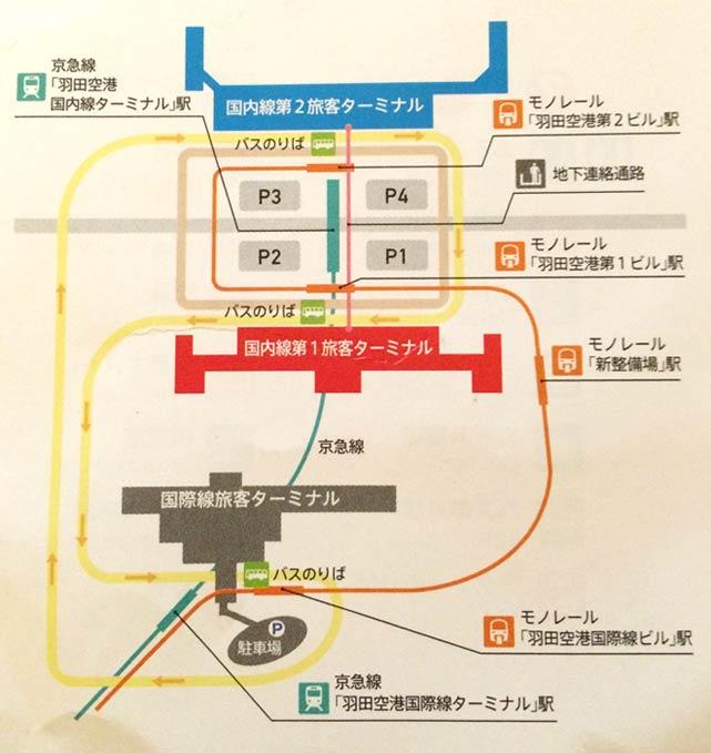 羽田国際線ー国内線の無料シャトルバス路線マップ