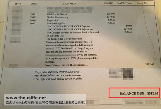 胎児ドックの費用(アメリカ)と実際の請求書