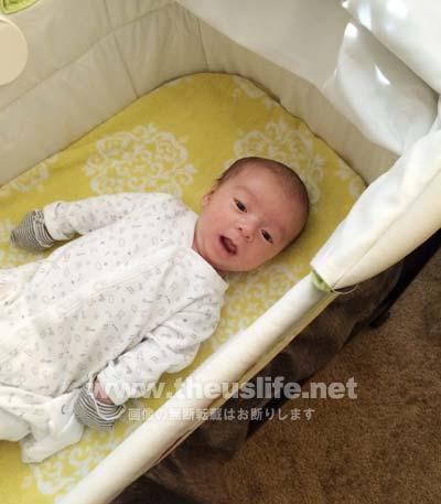 バシネットの中の赤ちゃん(生後一ヶ月)