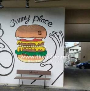 健軍神社のすぐ隣にあるカフェレストラン サニープレイス(駐車場)