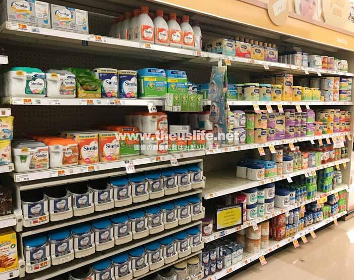 アメリカの一般スーパーでの粉ミルク&液体ミルク売り場