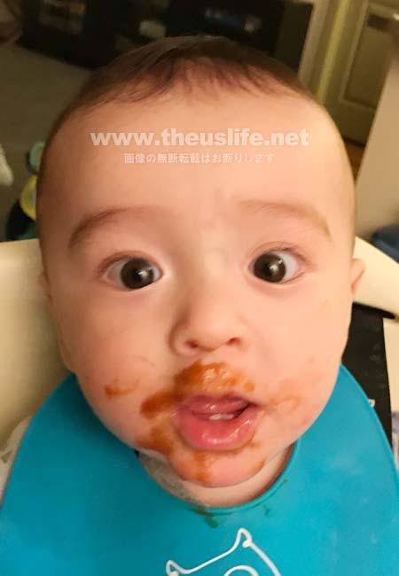 生後七ヶ月の日米ハーフの両目二重まぶたになった赤ちゃんの顔