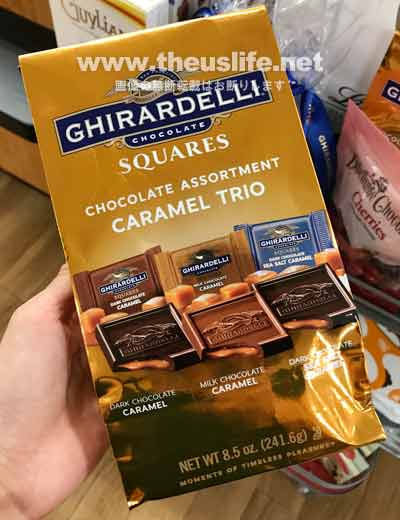ギラデリのキャラメルトリオのパッケージ(ミルクキャラメル、ダークチョコキャラメル、シーソルトキャラメルの詰め合わせ)