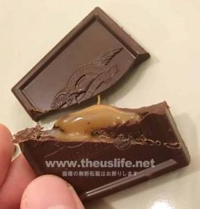 ギラデリ ダークチョコレートキャラメルを割ってみた画像