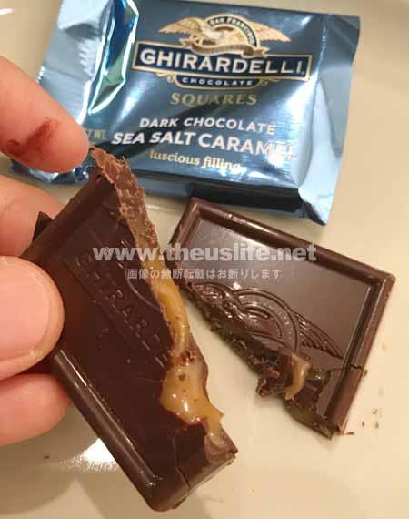 ギラデリ ダークチョコレートシーソルトキャラメルを割ってみた画像