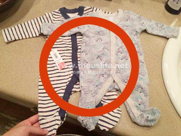 新生児に大変着せやすい前開きするタイプのベビー服