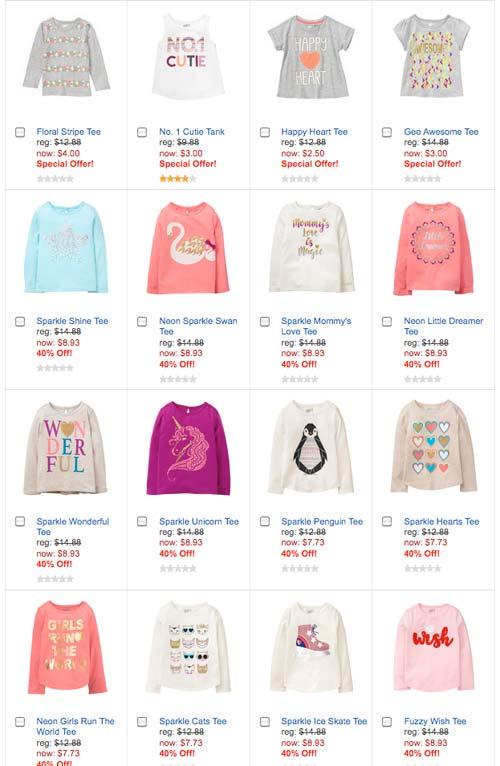 Crazy8 女の子用の子供服ウェブサイトキャプチャー画面
