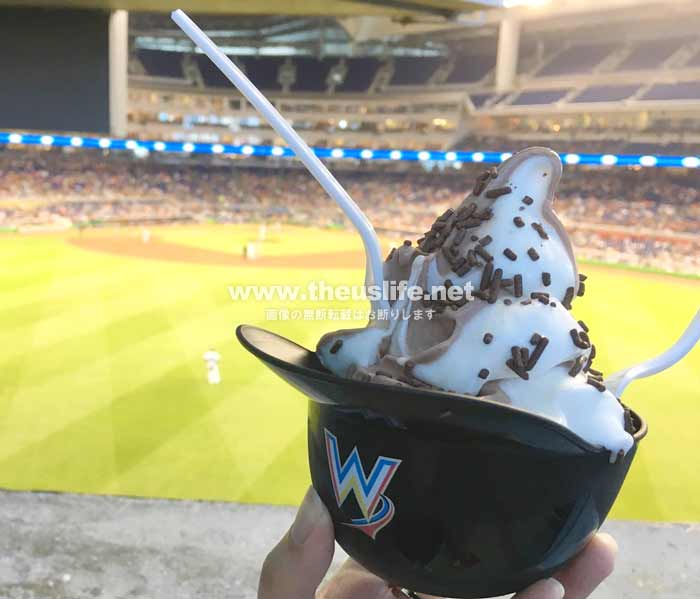 マーリンズ・パークの野球帽に入った名物アイスクリーム