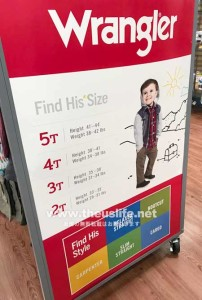Walmart(ウォルマート)Wrangler 子供服サイズ表